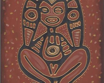 Atabey Taino Goddess Original Painting Taino Symbol of Puerto Rico Caguana Atabex Atabeira