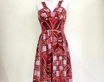 "Vintage 1960s 1970s Barkcloth Hawaiian Halter Maxi Dress // Red Pink Orange // Sleeveless // Tiki Style // Size XS // Waist 24.5"""
