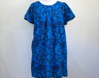 dc8f3852b39 Vintage 1960s Charmode Blue and Gold Floral MuuMuu Dress   Sears