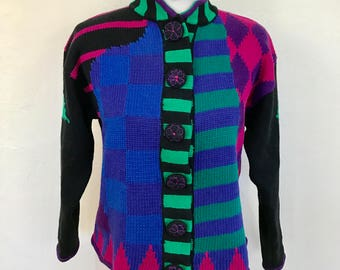 Vintage 1980s Color Blocked Graphic Cardigan Sweater // Size Medium // Ramie/Cotton Blend // RTR Brand // Boxy Fit // Drop Shoulders