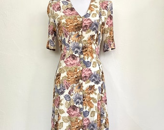 Vintage 1990s Express Floral Rayon Midi Dress // Cream Fall Colors // Button Front // Fitted // Short Sleeve // Junior Size 13/14 // Grunge