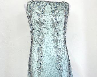 "Vintage 1960s Malcolm Starr Beaded Sheath Cocktail Dress // Green Blue // Sleeveless // Bust 34"" // Waist 30"""