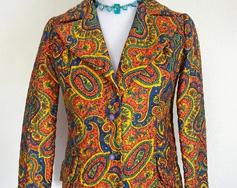 Vintage 1960s Wippette Quilted Blazer Jacket // Bright Colorful Psychedelic Mod Paisley Print // XS Small
