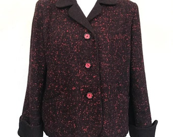 Vintage 1950s/1960s W.J. Rendall's Red and Black Blazer Short Coat