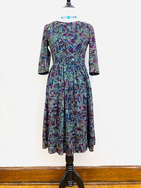 Vintage 1960s Green Novelty Print Dress // Abstrac