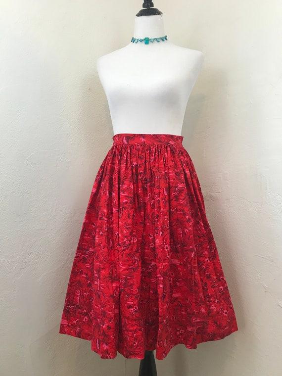 Vintage 1950s/1960s Novelty Print Skirt // Asian J