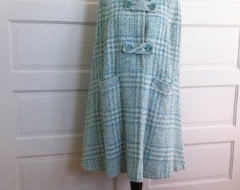 Vintage 1960s Cape Skirt Suit Set // Designer Modelia Mod // Blue White Plaid // Wool Pencil Skirt Waist 24 // Cape Size Small/Medium