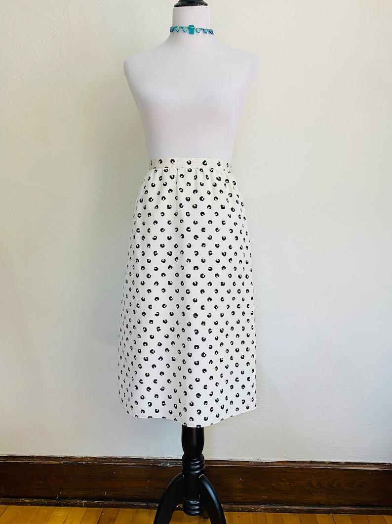 Vintage 1990s Black and White Polka Dot Pencil Skirt // The image 0