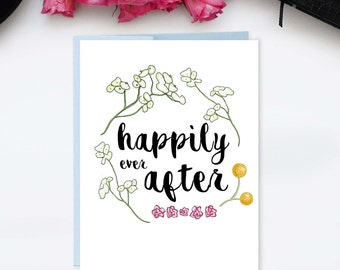 Happily Ever After Wedding Engagement Card // Spring Summer Celebration // Handmade Fairytale Love Card