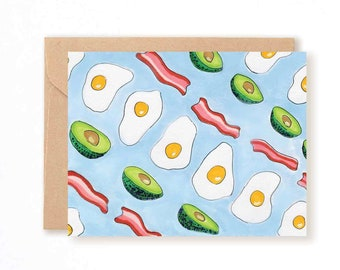 So Cal Breakfast Card // Quirky // Coffee Morning Bacon Avocado Egg Hipster Stationery // Blank Inside