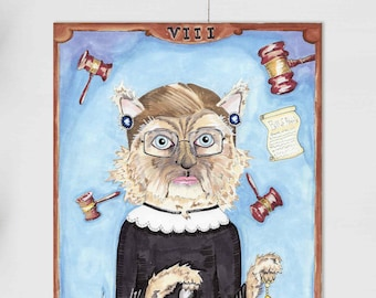 Ruth Bader Ginsburg Kitty 8 x 10 Inch Giclee Print // Quirky Feminist Art Mother's Day Mom Badass Supreme Court