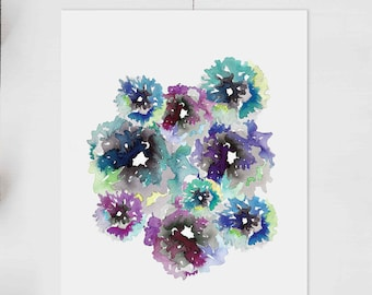 Fluid Flowers Abstract Giclee Print 8x10 inches // Mother's Day // Original Art //  Mom Gift Pretty Floral Cute Artsy Watercolor