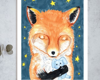 Sleeping Fox Print // Child's Room // Nusery Playroom Kid Art Sweet Adorable Birthday Art Baby Shower