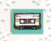 I Love You Card, Love Gift, love card, cassette tape, vintage 90s, 90s mixtape, 1990s, valentine's day card, vintage valentine car, mixtape