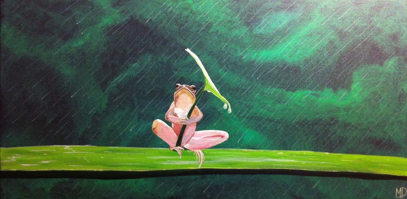 Sitting in the rain 12 x 24  frog holding leaf acrylic on image 0