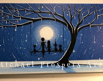 Tribute to A Nightmare before Christmas We were meant to be #7  -  12 x 24, acrylic on canvas,  ORIGINAL by Michael H. Prosper