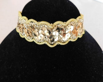 Unique Gold Sequins on Gold Metallic Choker - Very Gool Necklace