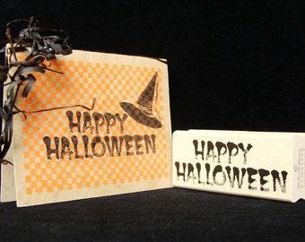 happy halloween rubber stamp