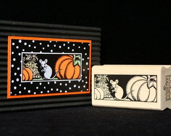mouse with pumpkins rubber stamp