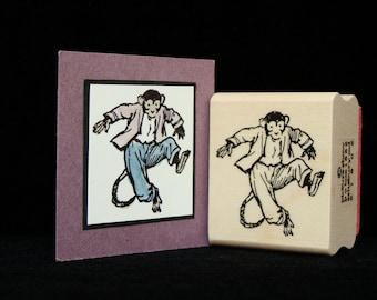 dancing chimp rubber stamp