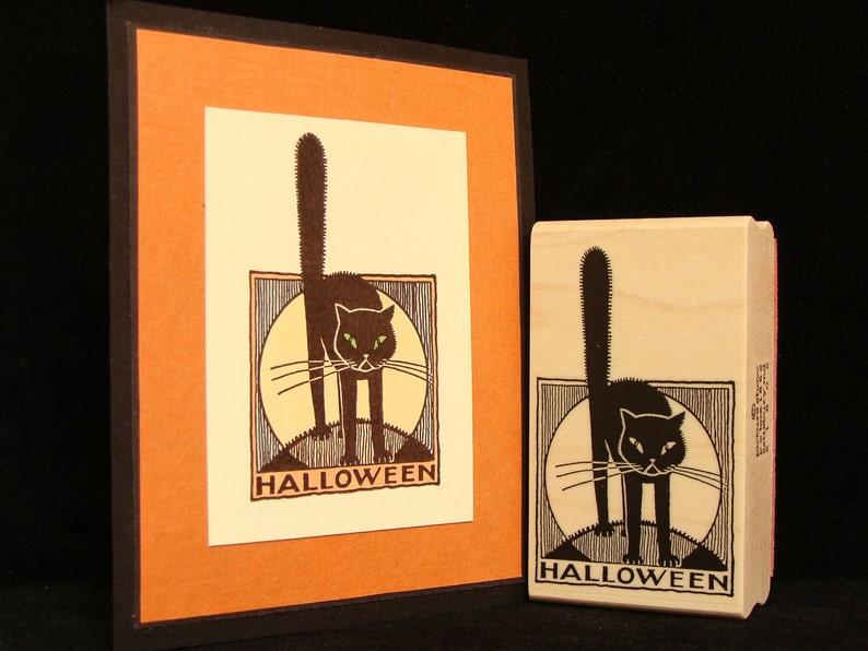 halloween black cat rubber stamp image 0