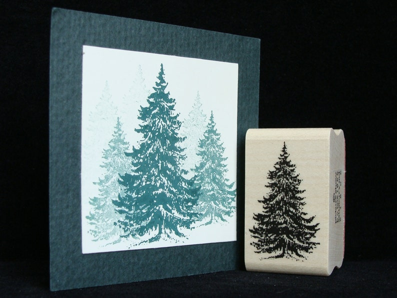 picture show rubber stamp  pine tree   smaller image 0