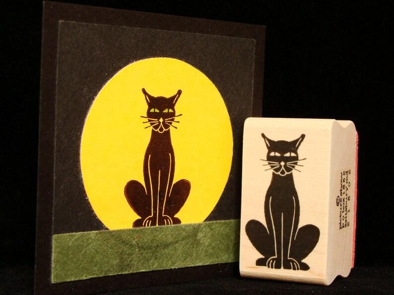 sitting black cat rubber stamp image 0