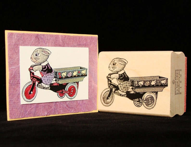 bunny cart rubber stamp image 0