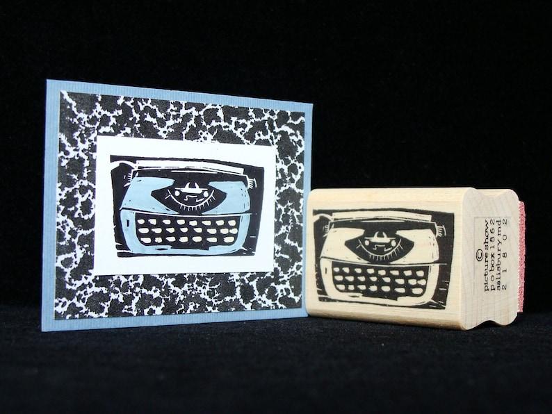 vintage electric typewriter rubber stamp image 0