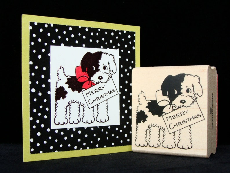 Christmas puppy rubber stamp image 0