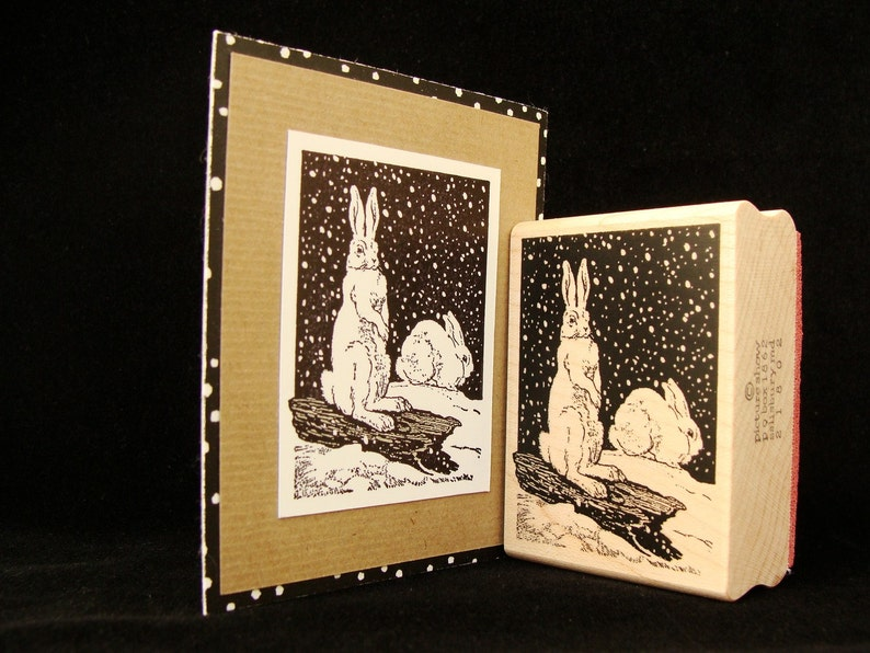 winter rubber stamp  snow bunnies image 0