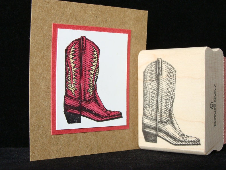 cowboy boot rubber stamp image 0