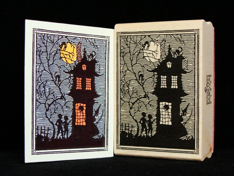 halloween haunted house rubber stamp image 0