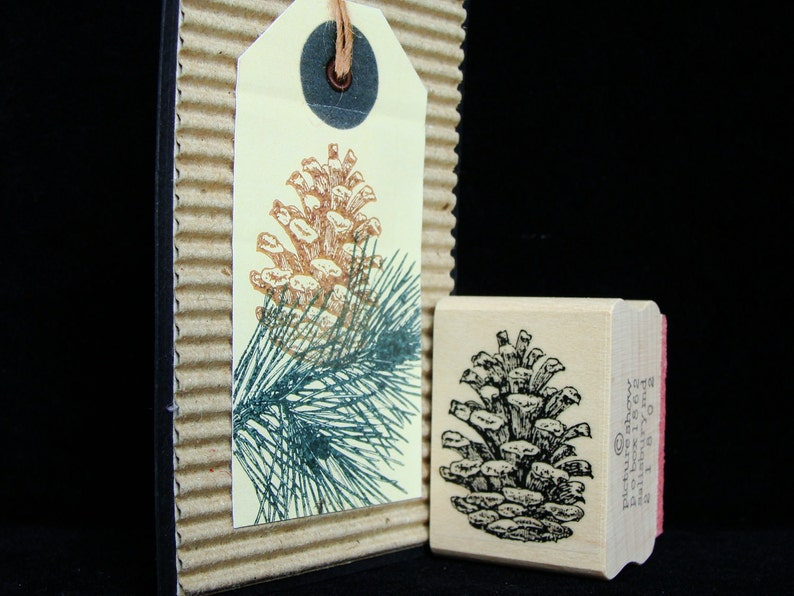 picture show rubber stamp pine cone image 0