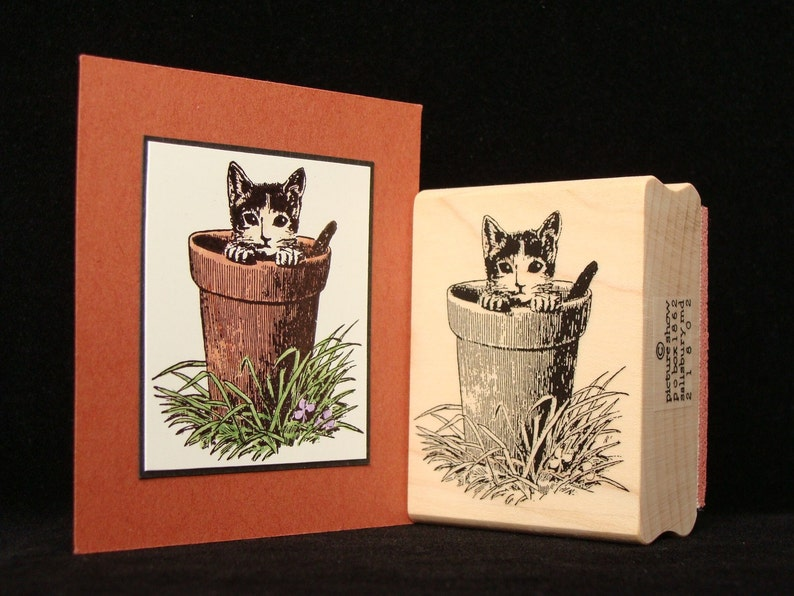 cat rubber stamp potted cat image 0