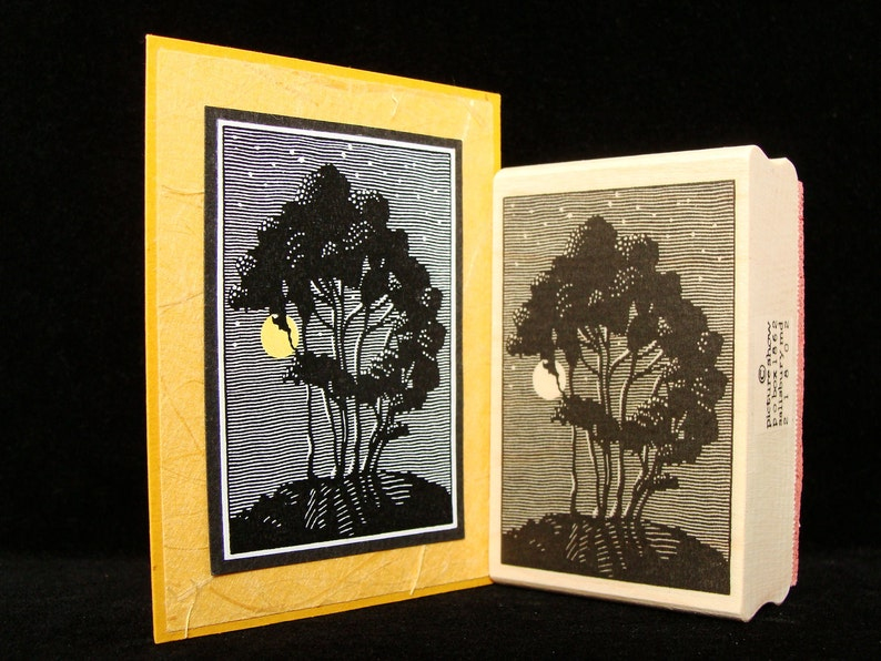 moonlit trees rubber stamp image 0