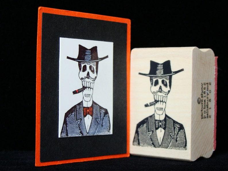 halloween rubber stamp  smoking skeleton image 0