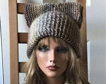 Valentines day gift ideas, neck warmer Cat Ear set, cat hat Beanie, Chunky Knit Cat Hat, Winter Accessories, Winter Hat, Gift under 30
