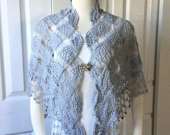Bridal shawl, summer mercerized shawl scarf, gift under 35, Silky crochet hand knit wedding shawl scarf, capelet, opal, cowl, gift for her
