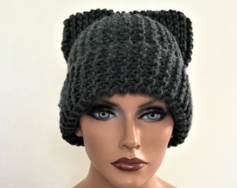 Cat Ear Hat, Cat Ear Beanie, Fume Cat Beanie, Chunky Knit Cat Hat, Winter Accessories, new Fashion, Winter Hat, Gift under 25