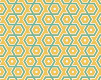 END of BOLT - 1 yard plus 8 inches - Joel Dewberry - Notting Hill - Hexagons in Canary - cotton quilting fabric