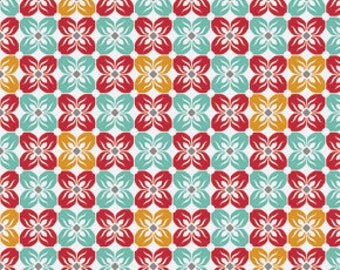 END of BOLT - 1 yard plus 3 inches - Joel Dewberry - Notting Hill - Square Petals in Poppy - cotton quilting fabric