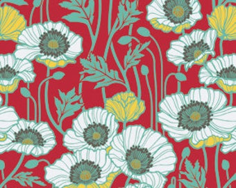 END of BOLT - 1 yard plus 10 inches - Joel Dewberry - Notting Hill - Pristine Poppy in Poppy - cotton quilting fabric