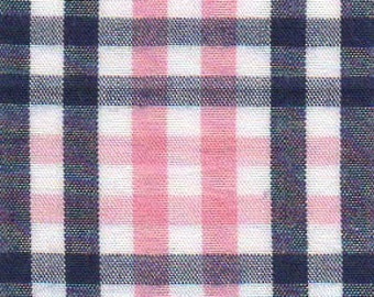 BTY - Fabric Finders Navy Blue and pink Plaid - Tattersall plaid blue check gingham - T89 - cotton sewing quilting fabric
