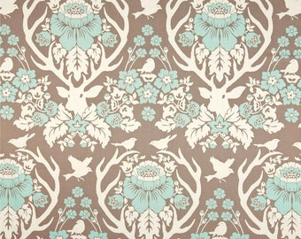 END of BOLT - 29 inches - Joel Dewberry - Birch Farm - Antler Damask in Burlap - cotton quilting fabric - REMNANT