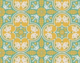 END of BOLT - 1 yard plus 5 inches - Joel Dewberry - Notting Hill - Historic Tile in Canary - cotton quilting fabric