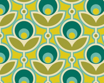 END of BOLT - 24 inches - Joel Dewberry - Notting Hill - Primrose in Aquamarine - cotton quilting fabric