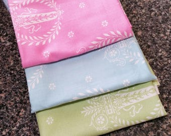 """Remnant BUNDLE - 14"""" each piece - Tanya Whelan - French Hatbox Medallions in blue green and pink - cotton quilting fabric - Remnants"""