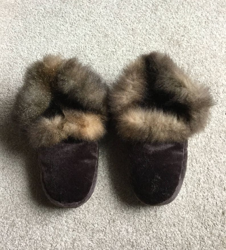 0e825661a28 New Zealand Possum Natural Brown Fur Moccasin Style Slippers
