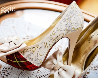 aee906c08d4 RESERVED Custom Hand Painted Bridal Shoes